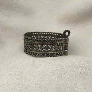 Vintage Hinged Cuff Bracelet with Key